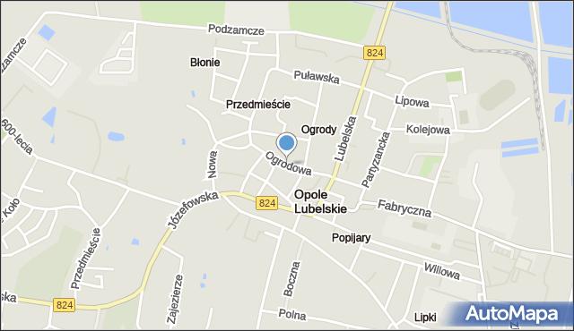 Opole Lubelskie, Ogrodowa, mapa Opole Lubelskie