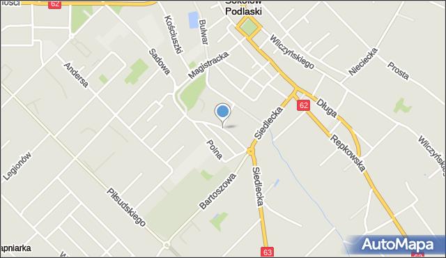 Sokołów Podlaski, Ogrodowa, mapa Sokołów Podlaski