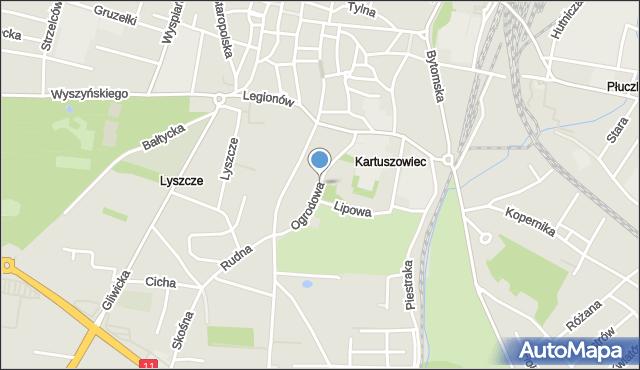 Tarnowskie Góry, Ogrodowa, mapa Tarnowskie Góry