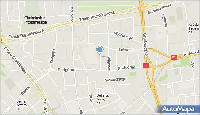 Toruń, Ogrodowa, mapa Torunia