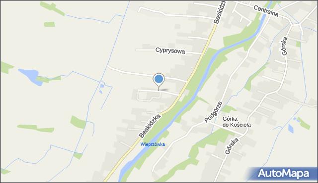 Wieprz powiat wadowicki, Ogrodowa, mapa Wieprz powiat wadowicki