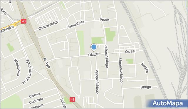 Częstochowa, Okrzei Stefana, mapa Częstochowy