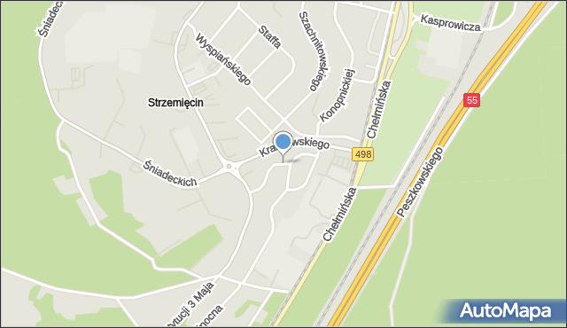Grudziądz, Okulickiego Leopolda, gen., mapa Grudziądza