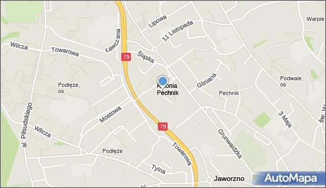 Jaworzno, Okrzei Stefana, mapa Jaworzno