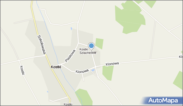 Kostki, Okrężna, mapa Kostki