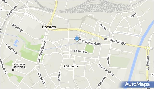 Rzeszów, Okrzei Stefana, mapa Rzeszów