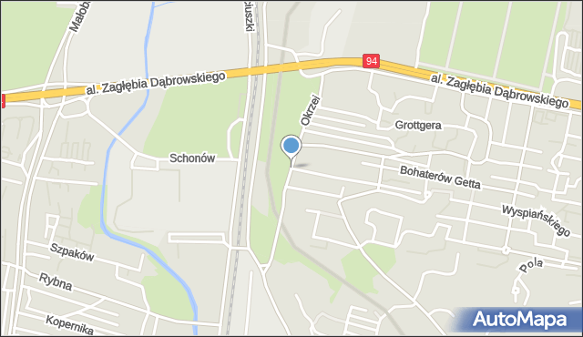 Sosnowiec, Okrzei Stefana, mapa Sosnowca