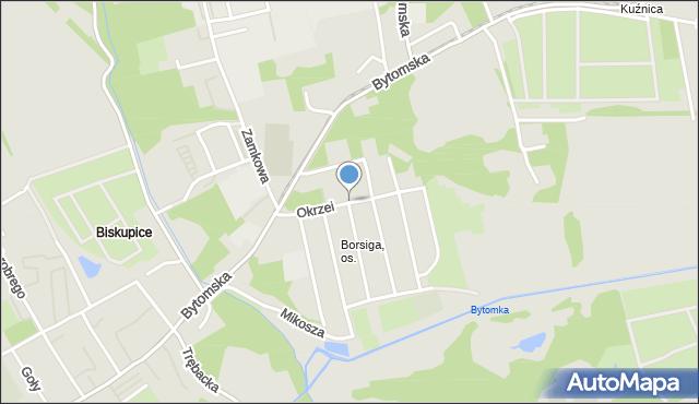 Zabrze, Okrzei Stefana, mapa Zabrza