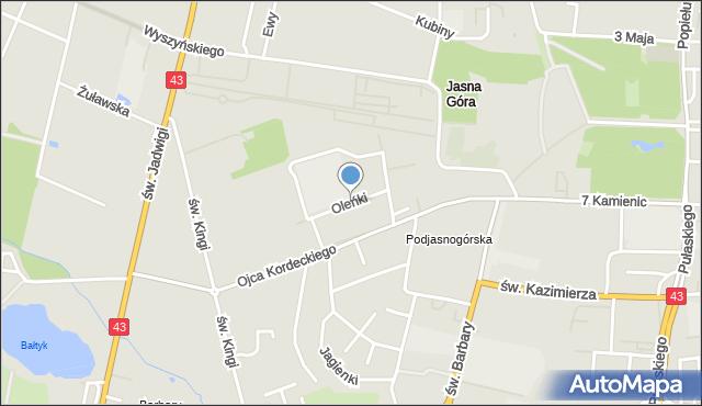 Częstochowa, Oleńki, mapa Częstochowy