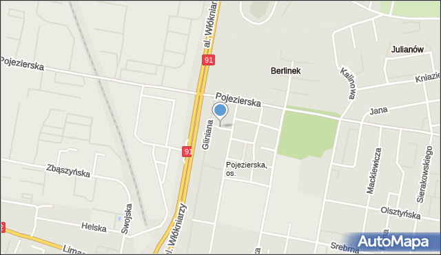 Łódź, Oliwska, mapa Łodzi