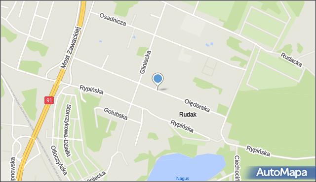Toruń, Olęderska, mapa Torunia