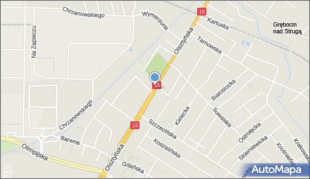 Toruń, Olsztyńska, mapa Torunia