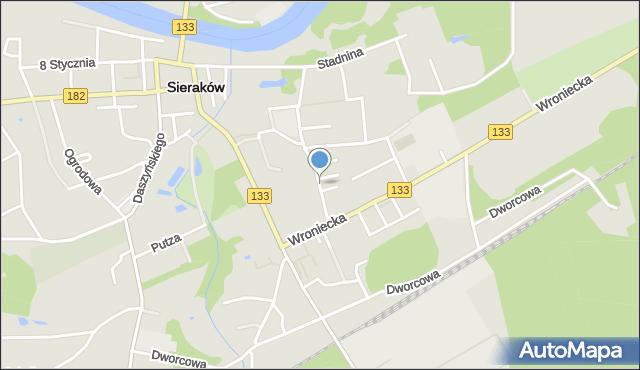 Sieraków powiat międzychodzki, Opalińskich, mapa Sieraków powiat międzychodzki