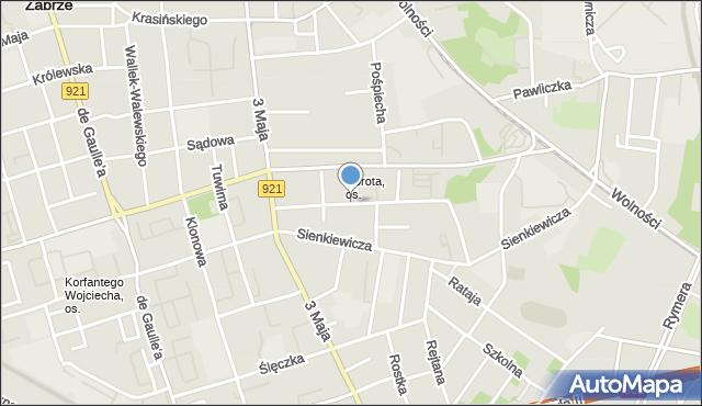 Zabrze, Opolska, mapa Zabrza