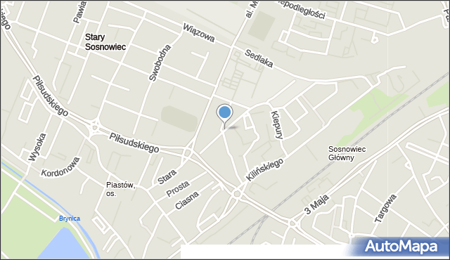 Sosnowiec, Ordonówny Hanki, mapa Sosnowca