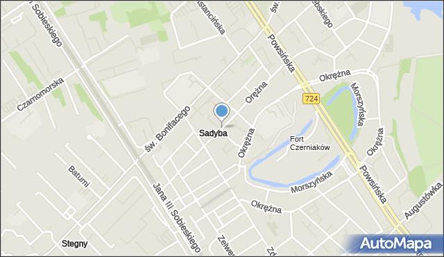 Warszawa, Orężna, mapa Warszawy