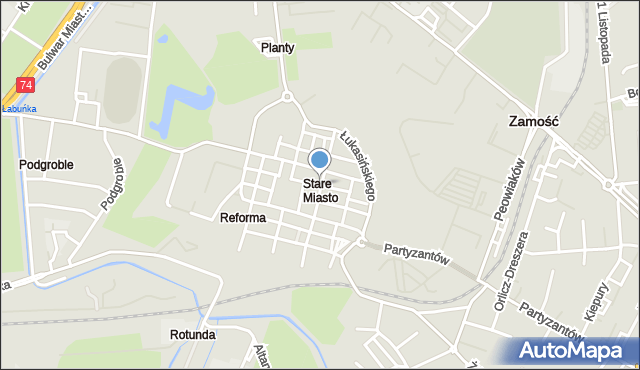 Zamość, Ormiańska, mapa Zamościa