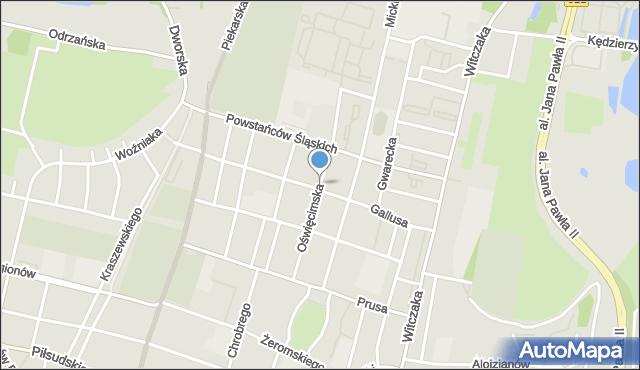 Bytom, Oświęcimska, mapa Bytomia