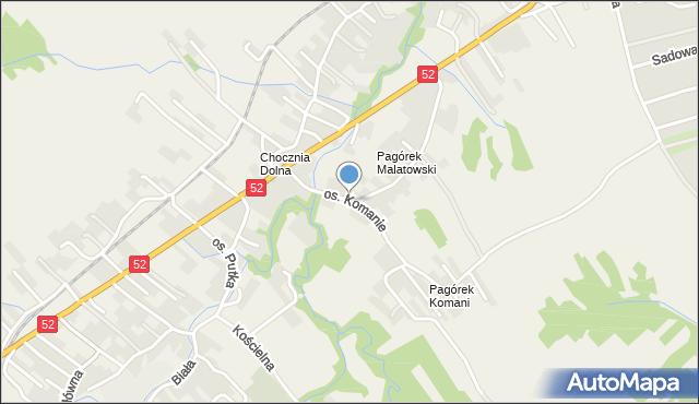 Chocznia, Osiedle Komanie, mapa Chocznia