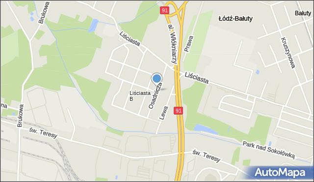Łódź, Osadnicza, mapa Łodzi