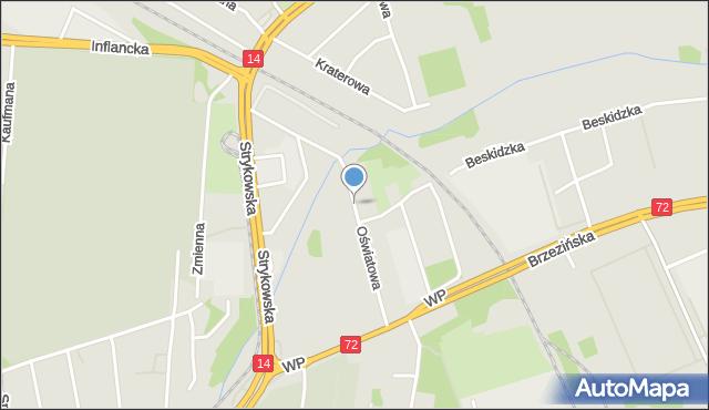 Łódź, Oświatowa, mapa Łodzi