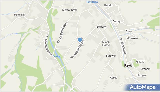 Rzyki, Osiedle Młocki Górne, mapa Rzyki
