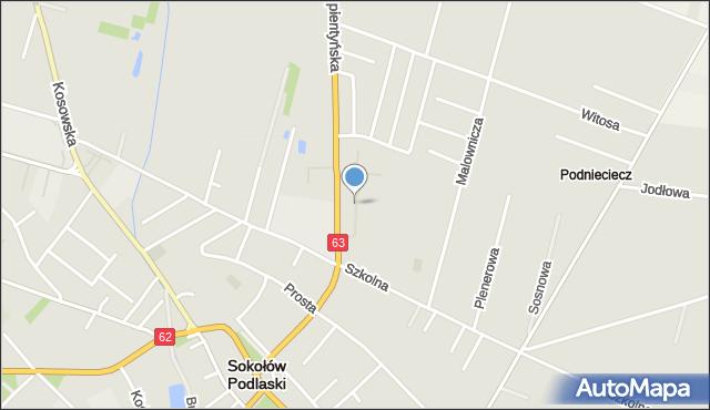 Sokołów Podlaski, Osiedlowa, mapa Sokołów Podlaski