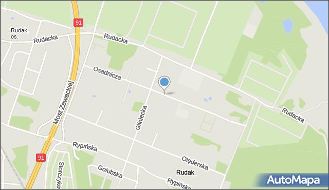 Toruń, Osadnicza, mapa Torunia