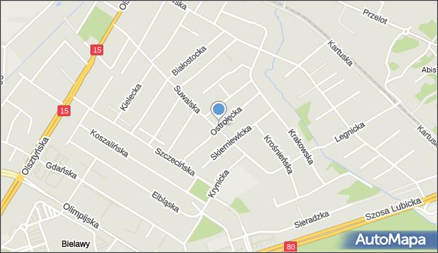 Toruń, Ostrołęcka, mapa Torunia