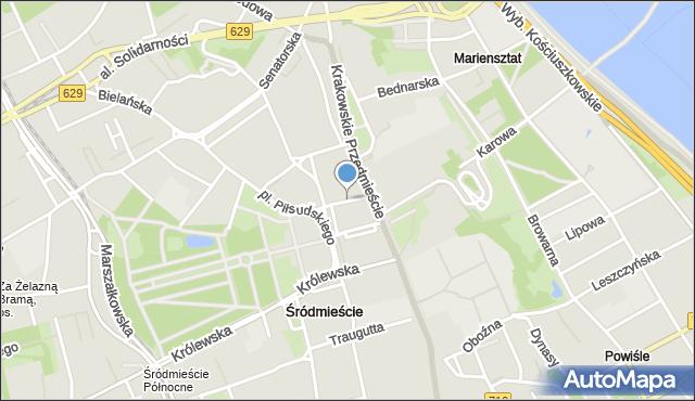 Warszawa, Ossolińskich, mapa Warszawy