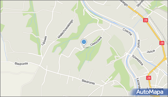 Limanowa, Owocowa, mapa Limanowa