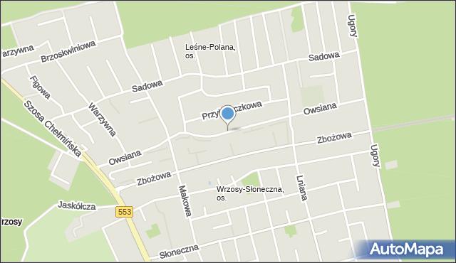 Toruń, Owsiana, mapa Torunia