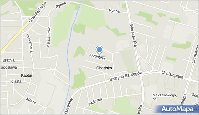 Radom, Ozdobna, mapa Radomia
