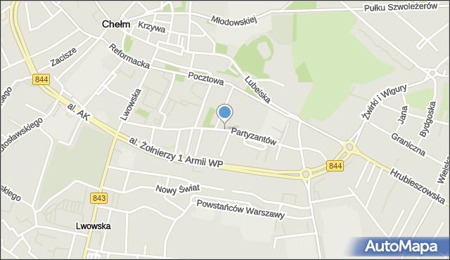 Chełm, Partyzantów, mapa Chełma