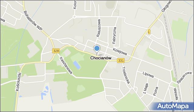 Chocianów, Parkowa, mapa Chocianów