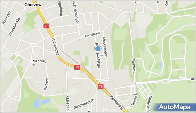 Chorzów, Paderewskiego Ignacego Jana, mapa Chorzów
