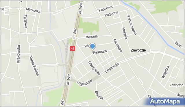 Częstochowa, Pasteura Ludwika, mapa Częstochowy
