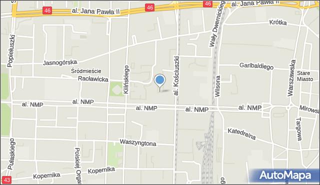 Częstochowa, Park Staszica Stanisława, mapa Częstochowy