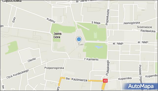 Częstochowa, Pasaż Bareły Stefana, bp., mapa Częstochowy
