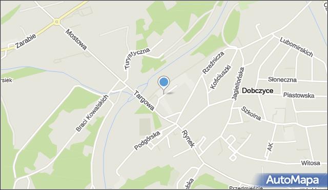 Dobczyce, Parkowa, mapa Dobczyce