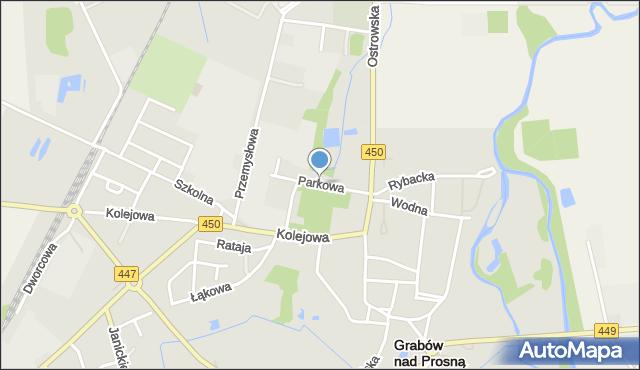 Grabów nad Prosną, Parkowa, mapa Grabów nad Prosną