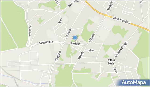 Jaworzno, Partyki Henryka, mapa Jaworzno