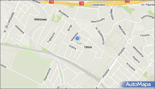 Kraków, Partyzantów, mapa Krakowa