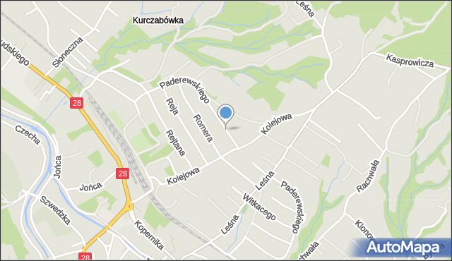 Limanowa, Paderewskiego Ignacego Jana, mapa Limanowa
