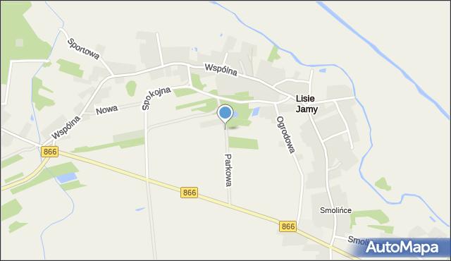 Lisie Jamy gmina Lubaczów, Parkowa, mapa Lisie Jamy gmina Lubaczów
