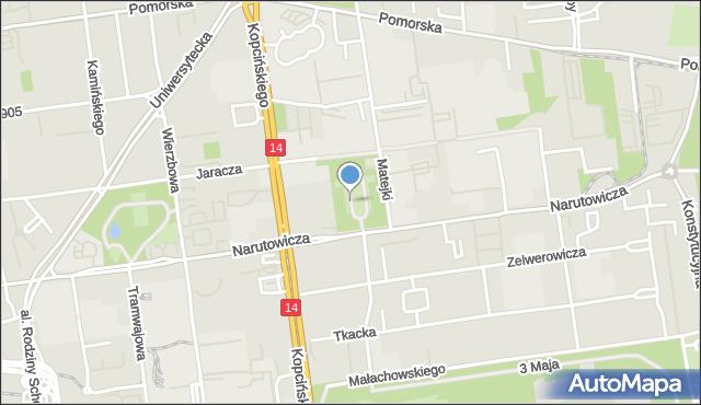 Łódź, Park Matejki Jana, mapa Łodzi