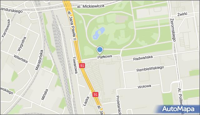 Łódź, Parkowa, mapa Łodzi