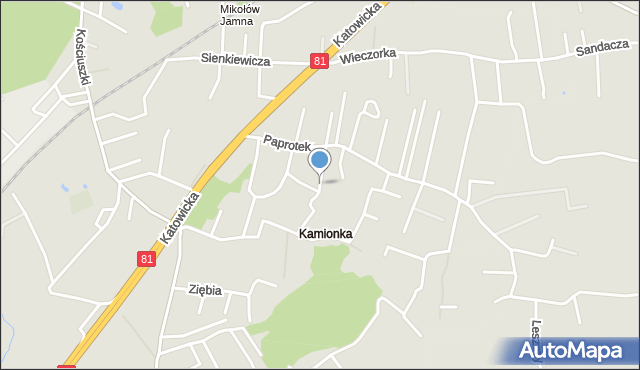 Mikołów, Paprotek, mapa Mikołów