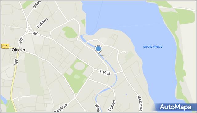 Olecko, Partyzantów, mapa Olecko