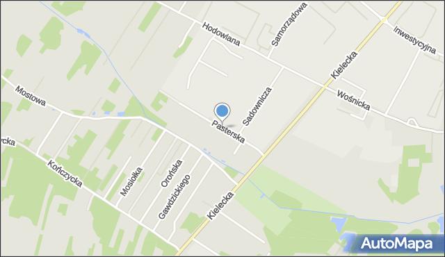 Radom, Pasterska, mapa Radomia
